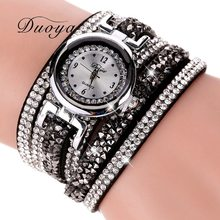 Duoya Model Style Ladies Gown Watch Ladies Luxurious Silver Crystal Leather-based Quartz Wristwatch Girls Basic Bracelet Watch