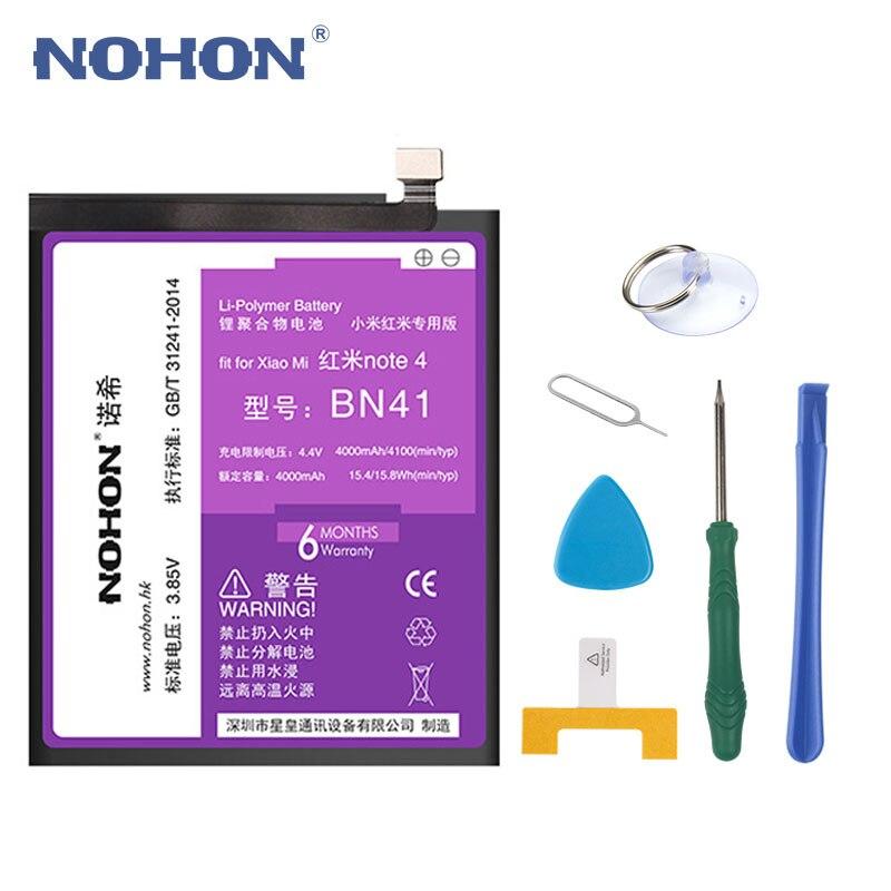 D'origine NOHON BN41 Batterie Pour Xiaomi Redmi Note 4 MTK X20/Note 4X Pro 4 gb RAM 4100 mah téléphone Remplacement Batteries Outils Gratuits