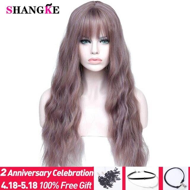 """SHANGKE 26 """"de largo mezcla púrpura pelucas para mujer con flequillo resistente al calor sintético rizado pelucas para mujeres africano americano"""