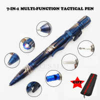 NEW 7-In-1 Outdoor EDC Multi-Function Self Defense Tactical Pen With Emergency Led Light Whistle Glass Breaker Outdoor Survival