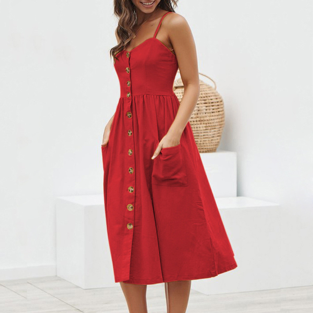 Women's Summer V-Neck Dress with Pockets