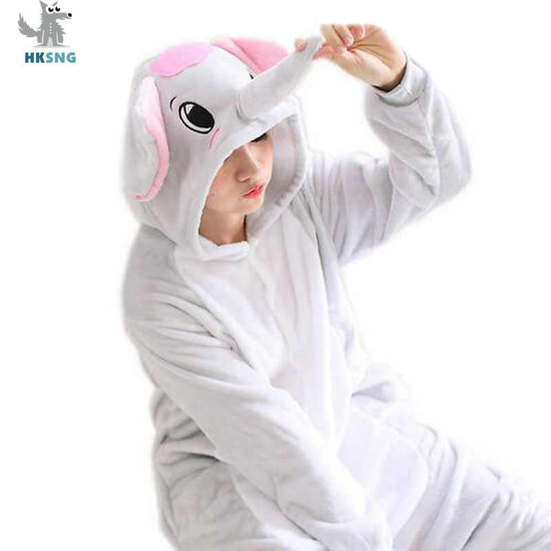 HKSNG Animal Grey Blue Elephant Pajamas Flannel Family Cartoon Halloween Party Onesies Cosplay Costumes Jumpsuits Kigurumi