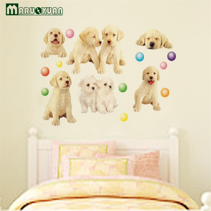 Maruoxuan Removable Golden Retriever Dogs Wall Stickers For Baby ...
