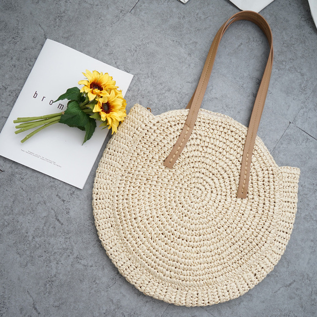 Round Straw Bag Beach Bag...