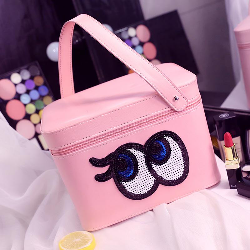 ФОТО Hot Sales High Quality PU Leather Professional Cosmetic Case Portable Women Makeup Case Cartoon Eyes with Compartment Makeup Bag
