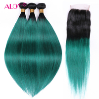 ALOT Pre Colored Ombre Hair Bundles With Closure 1B/Green Beauty Straight Human Hair Weave With Free Part Lace Closure Non Remy