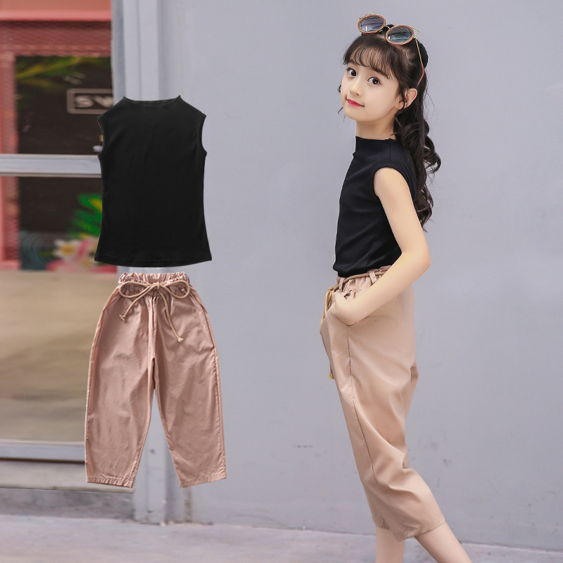 5ff85510926 big girls pants set teen girl clothing 2018 little girls summer outfit  black vest tops and khaki pants 2 pcs kids clothes sets-in Clothing Sets  from Mother ...
