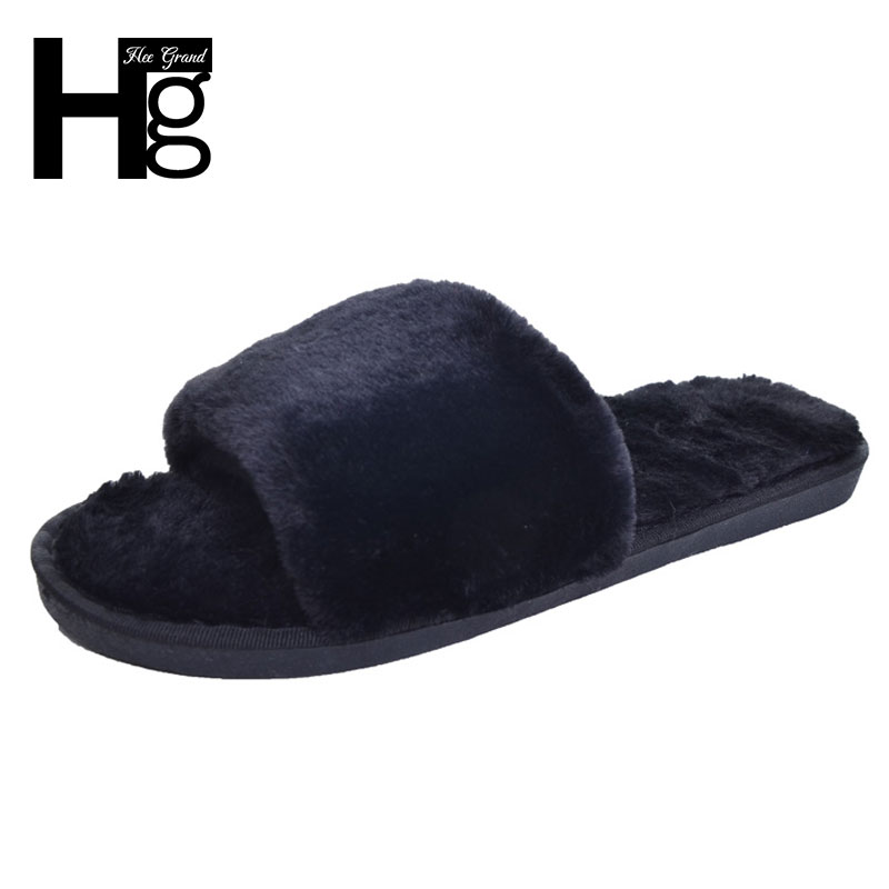 HEE GRAND Indoor Fur Slippers 2017 Warm Platform Shoes Woman Slip On Soft Flat with Casual Floor Slipper Women Home Shoes XWT556 flat fur women slippers 2017 fashion leisure open toe women indoor slippers fur high quality soft plush lady furry slippers