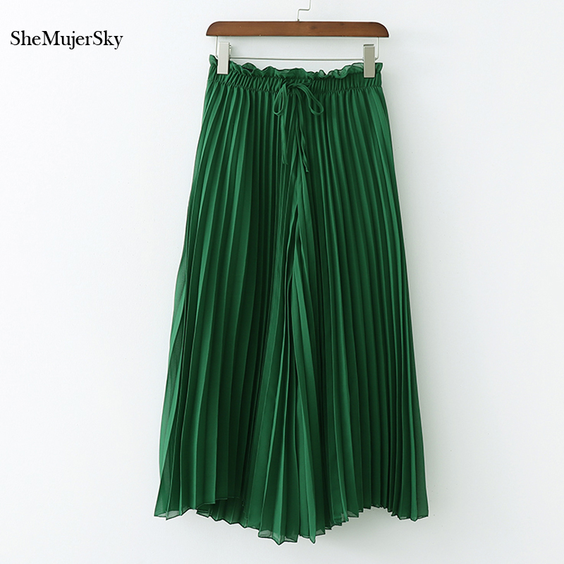 SheMujerSky Green Beach   Pants   Loose Pleated   Wide     Leg     Pants   Summer High Waist   Pant   Women Trousers 2019