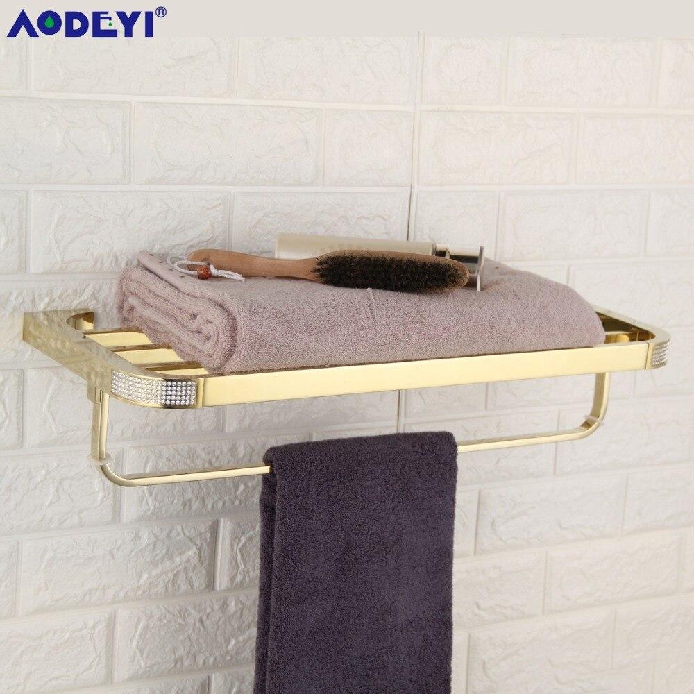 AODEYI Towel Rack Double deck Czech Crystal Bath Towel Shelf Gold or Chrome Towel Holder 18 012
