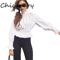 Chicanary White Ruffle Collar Blouse Women Long Sleeve Shirts With Elastic Band Tops