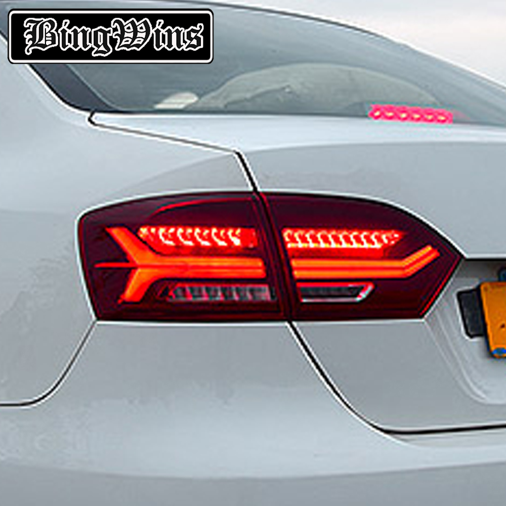 Car Styling Tail lamp For Volkswagen VW Jetta MK6 TailLight 2012-2014 LED DRL Moving Yellow Turn Signal Reverse light Rear Lamp for vw volkswagen polo mk5 6r hatchback 2010 2015 car rear lights covers led drl turn signals brake reverse tail decoration