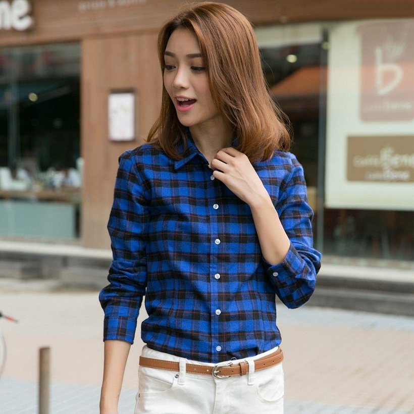 Plaid Shirt Women New 100% Cotton Long Sleeve Casual Flannel Shirts - Women's Clothing - Photo 4