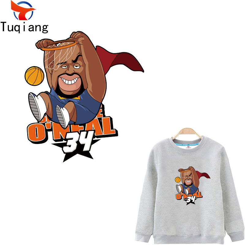 Personality cartoon basketball ONeal Iron On T-shirt A-level Washable Stickers Clothes DIY Printing Christmas Gift 29*26.4CM