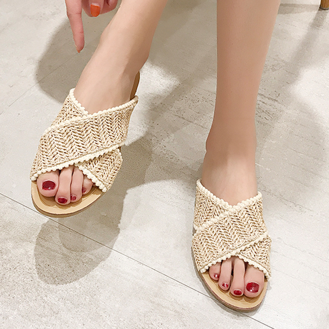 2019 Weave Slippers Women Summer Shoes Woman Casual Ladies Flat Home Indoor Slippers Slides Women flip flops pantufa tong femme 4