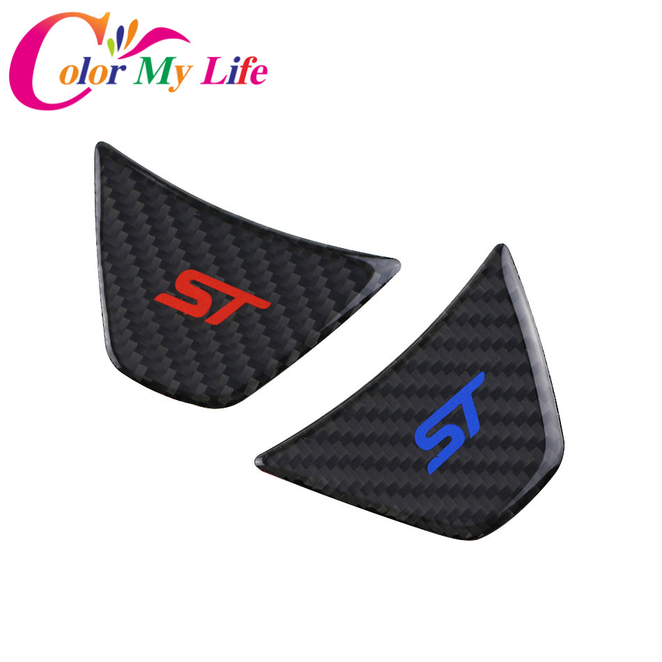 1 Piece Rear Carbon Fiber Car Steering Wheel Decorator Trim Steering Protective Sticker for Ford Fiesta 2009 - 2017 Ecosport Car decorator