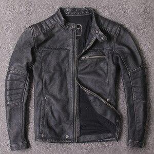 Image 4 - Darmowa wysyłka. Styl Vintage męskie ubrania ze skóry wołowej, wysokiej jakości skórzana kurtka dla motocyklisty, moda czarne prawdziwa skóry płaszcz. homme slim,