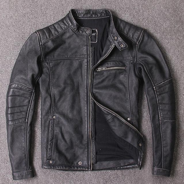 menns klær, motor biker skinnjakker, mann svart ekte skinn jacket