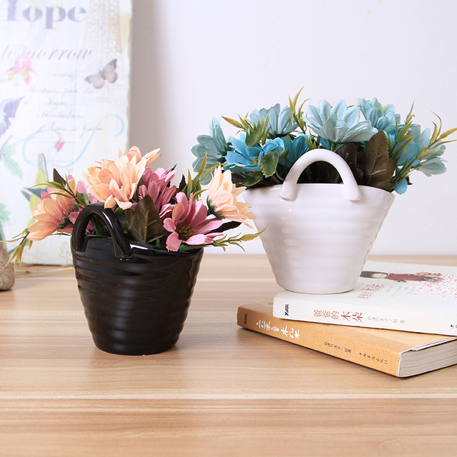 Beautiful Flower Baskets Small Ceramic Pots Ceramic Flower Vase In Black And White  Creative Flower Pot With Nice Ideas