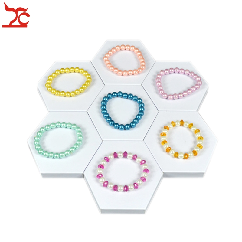 1Piece Fashion Jewelry Display Mdf Board Hexagon White Pu Bracelet Bangle Pendant Storage Display Stand Tray