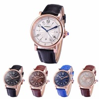 Debert 43mm Leather Strap Rosegold Case Calendar Date luxury top brand male clock new Watch Men Mechanical Automatic Watches