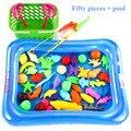 Novo 50 pçs/set 3D Jogo Tanque De Peixes Vara De Pesca Magnética 2 Hastes Modelo de peixe Brinquedos Do Banho Do Bebê Fun Toy Kids Piscina Ao Ar Livre + cesta