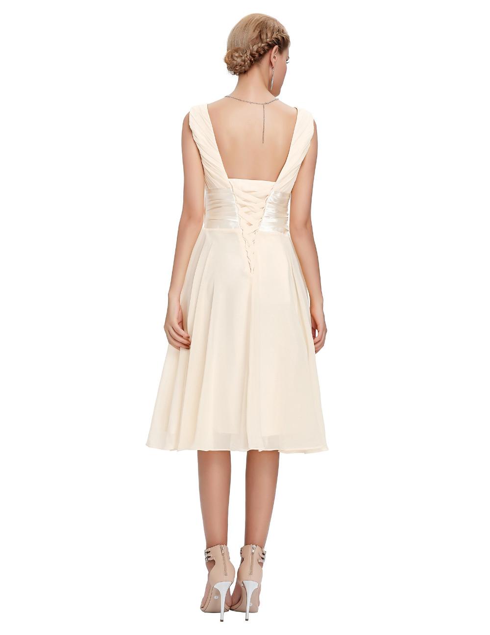 Knee Length Short Chiffon Bridesmaid Dress 4