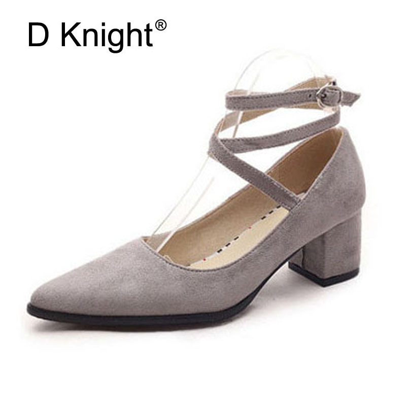Sexy Pointed Toe Cross Strap Thick Heels Women Pumps Flock Middle Height High Heels Women Shoes Size 34-43 Ladies Casual Pumps women pumps flock high heels shoes woman fashion 2017 summer leather casual shoes ladies pointed toe buckle strap high quality