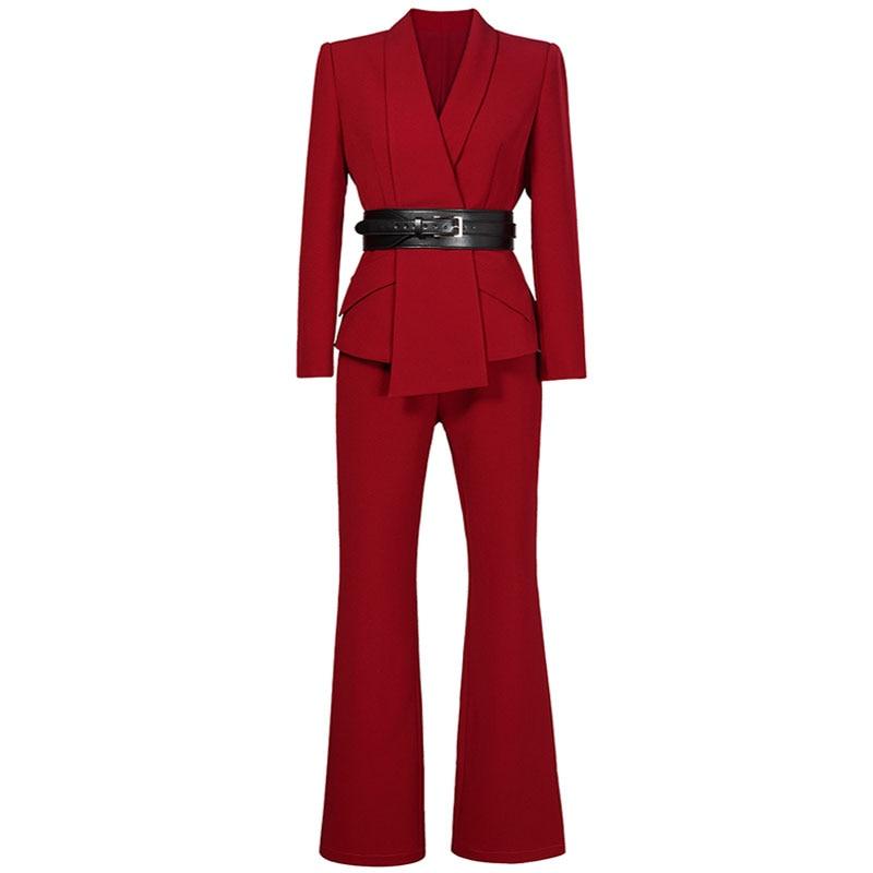 赤 RoosaRosee 2019 オフィスレディ Ol セット長袖ターンダウン襟ブラックレッドブレザー + 長ズボンファッション 2 ピーススーツ Twinset  グループ上の レディース衣服 からの レディースセット の中 2