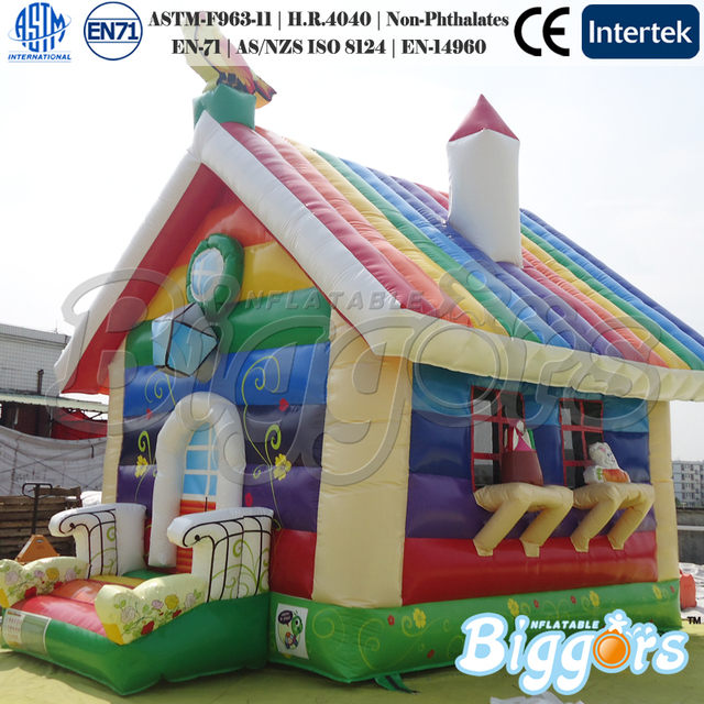 Inflatable Biggors Rainbow Inflatable Bounce House Bouncer for Kids Shipping by Sea