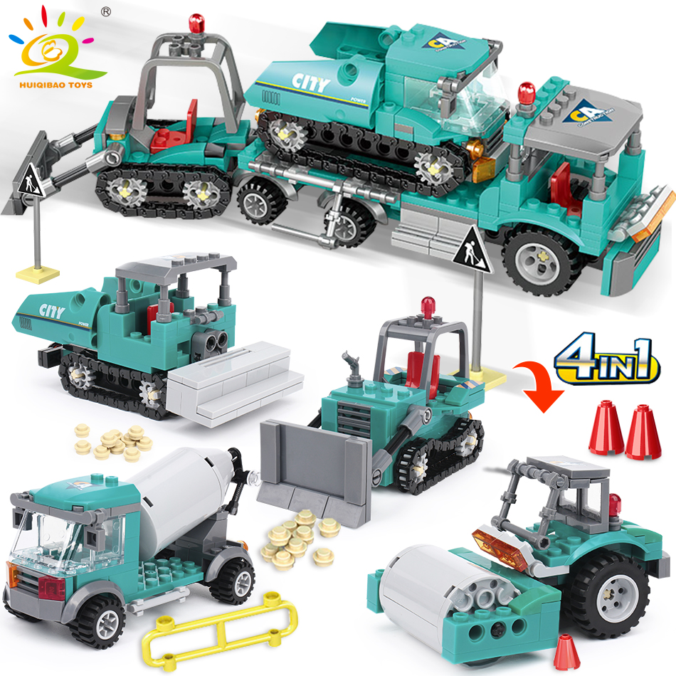 462pcs 4in1 City Engineering Truck Building Blocks Compatible Legoing Excavator Bulldozer Creator Bricks Construction Toys For Children Gift