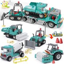 HUIQIBAO 462 قطعة 4in1 مدينة الهندسة شاحنة اللبنات حفارة جرافة الخالق الطوب ألعاب البناء للأطفال