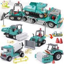 HUIQIBAO 462 adet 4in1 şehir mühendisliği kamyon yapı taşları ekskavatör buldozer yaratıcı tuğla inşaat oyuncakları çocuklar için