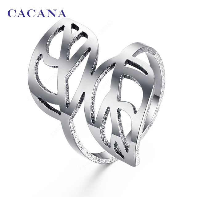 CACANA Titanium Stainless Steel Rings For Women With Double Leaf Fashion Jewelry