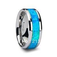 Darmowa Wysyłka Tanie Cena Biżuteria USA Brazylia Rosja HOT Sprzedaży 8 MM Mężczyzna Opal Kamień Wkładka Srebrny Skośne Wolfram Wedding pierścień