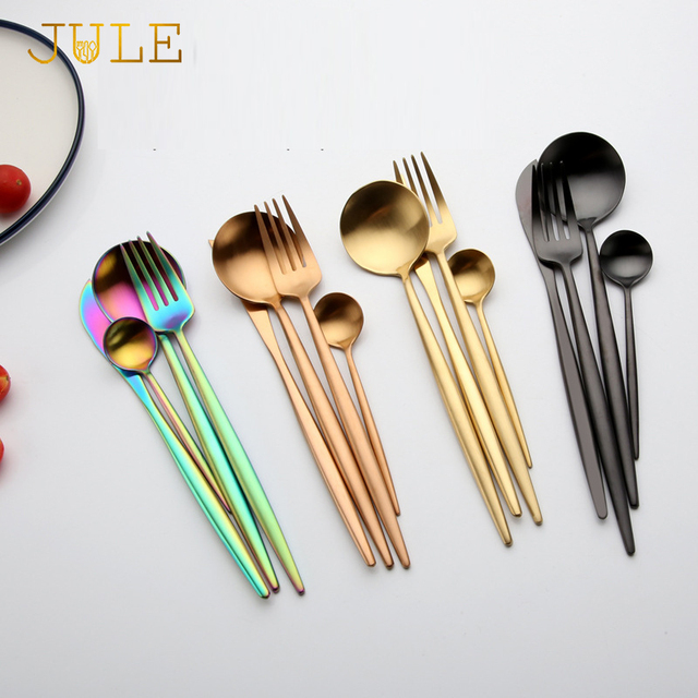 4pcs Ccutipol Style Rainbow Cutlery Set Wedding Dinnerware Dinner Forks Knives Scoops 18