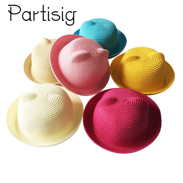 c36b75278 US $2.61 25% OFF|2018 Summer Children Hats Straw Ear Cap For Girls Cartoon  Sun Hat For Boys Beach Panama Hat Roll Up Baby Cap-in Hats & Caps from ...