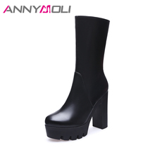 ANNYMOLI Women Boots Genuine Leather Lady Boots Platform Thick Heels Mid-Calf Women Autumn Shoes High Heels Winter Boots Size 42