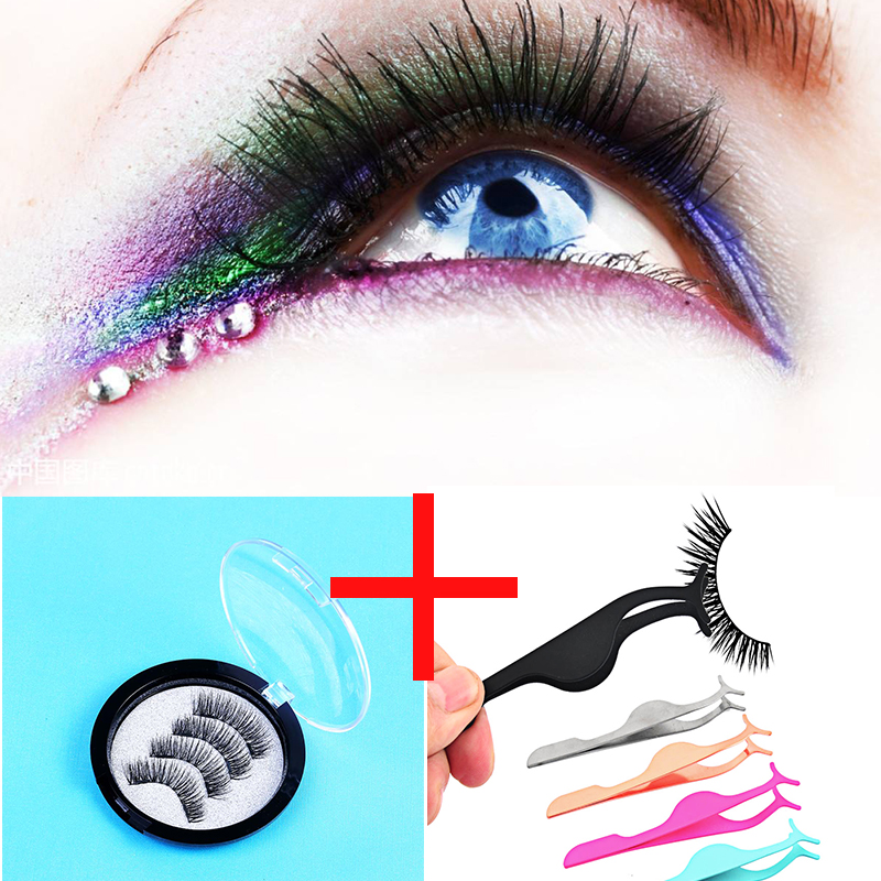 4PCS Magnetic Eyelashes Curler Tool With Box Set Magnetic False Eyelashe Mink 3D Magnet Eyelashes Human Hair High Quality Lashes