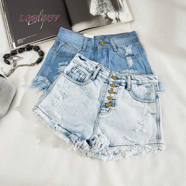 7adfbc01ff7285 ... Fashion Short Jeans 2017 Summer Women High Waist Denim Shorts Frayed  Hole Female Super Cool Flash ...