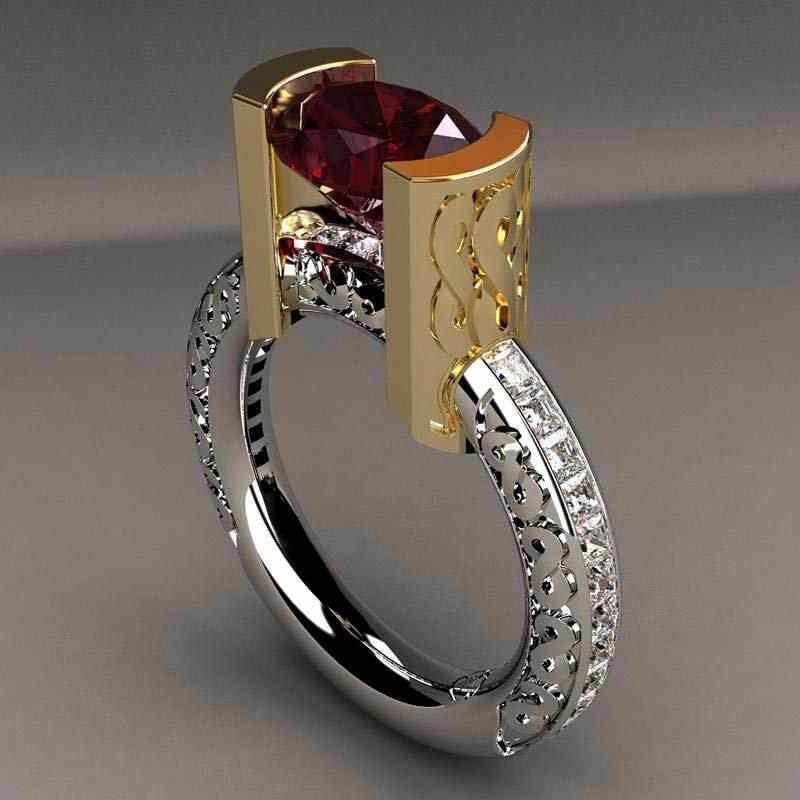 Tisonliz Luxury Red Crysal Rings For Women Men Gold Silve Two Color Wedding Engagement Rings Elegant  Rings Jewelry Bague Femme