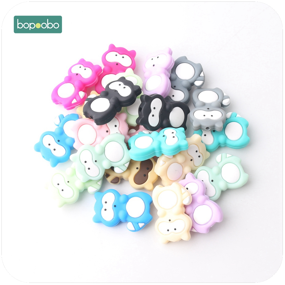 Bopoobo 20pc Siilicone Mini Raccoon Beads Food Grade Silicone DIY Teething Necklace Baby Gifts Pacifier Accessories Baby Teether