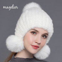 Magelier Women S Real Fur Hats Winter Warm Knitted Natural Mink Fur Beanies Pom Poms With