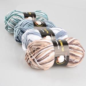 Image 5 - 5 шт. = 500 г цветная молочная хлопчатобумажная пряжа, Смешанная шерстяная пряжа для вязания крючком, необычная пряжа, вязаный свитер, шарф, 7 шт., BR124
