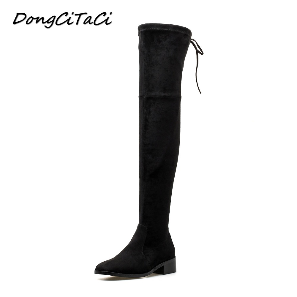 DongCiTaCi Winter Women Square Toe Gladiator Boots Woman Over The Knee Thick Heels Long Boots Women Female Shoes botas muje