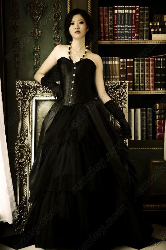 Vintage Corset Top Black Gothic Evening Dresses For Women Plus Size