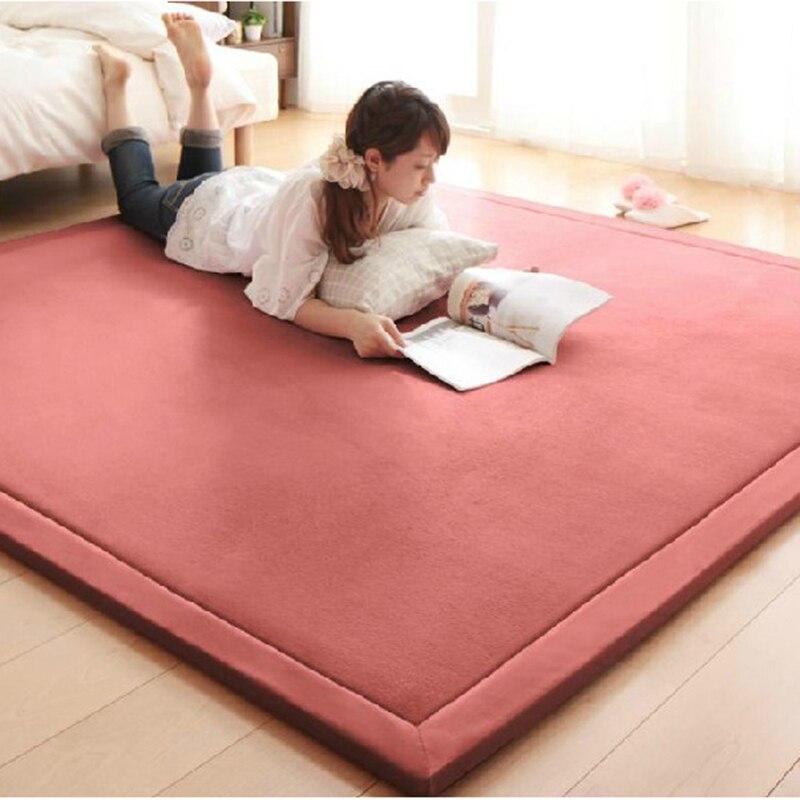 2CM Thick Coral Fleece Mat <font><b>Carpet</b></font> Playmat 180*200*2CM Tatami Tea Table Baby Bedroom <font><b>Carpet</b></font> Rectangle Living Room Rug