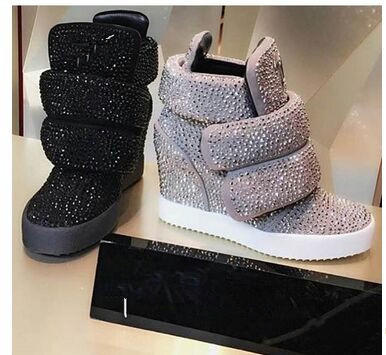 HOT New 2016 Brand Autumn Women Winter Shoes Leopard Suede Ankle Boots Heels Platform Wedge Height Increasing Shoes Plus