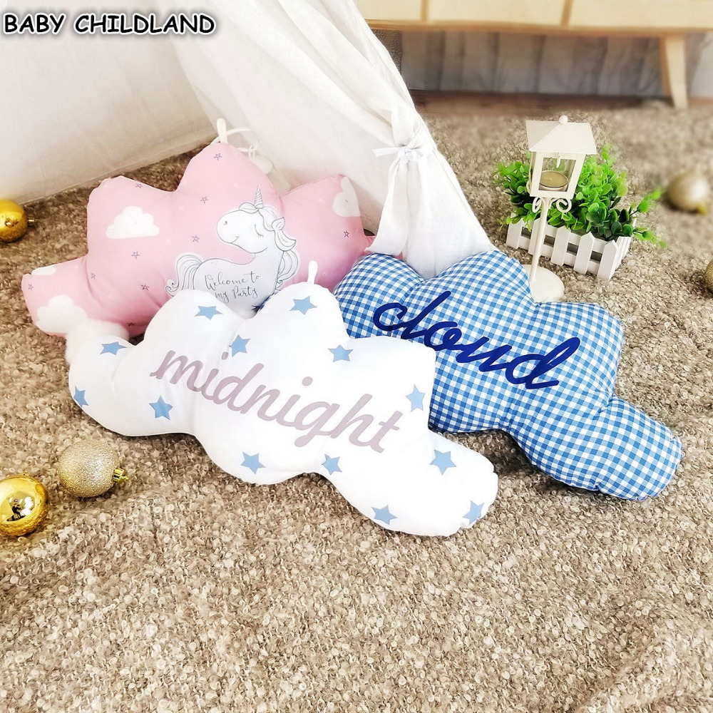 Baby Pillow Decorate Infant Children Room Decoration Nordic Nursery Decor Cartoon Cloud Cushion Baby Photography Props Ornament