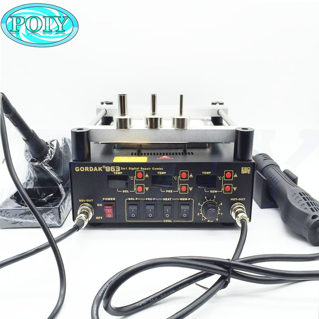 Gordak 863 3in1 Digita Hot Air Heat Gun BGA Rework Solder Station Electric Soldering iron IR Infrared Preheating Station 1